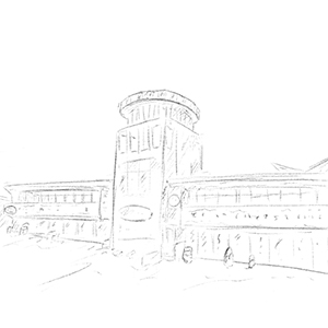 A pencil drawing of the main building at Clarence Pier